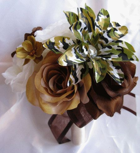 Wedding Bouquet Bridal Silk flowers CAMOUFLAGE BROWN CREAM
