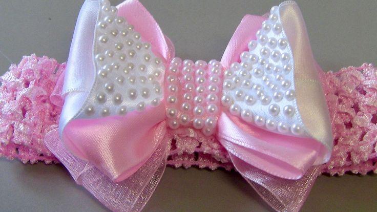 Laço para Princesa com fita de cetim e organza -DIY- Bow Tie for Princesses