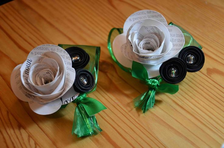Paper corsages with kelly green ribbon available from AJ's Craft Creations. https://www.facebook.com/ajs.craft.creations