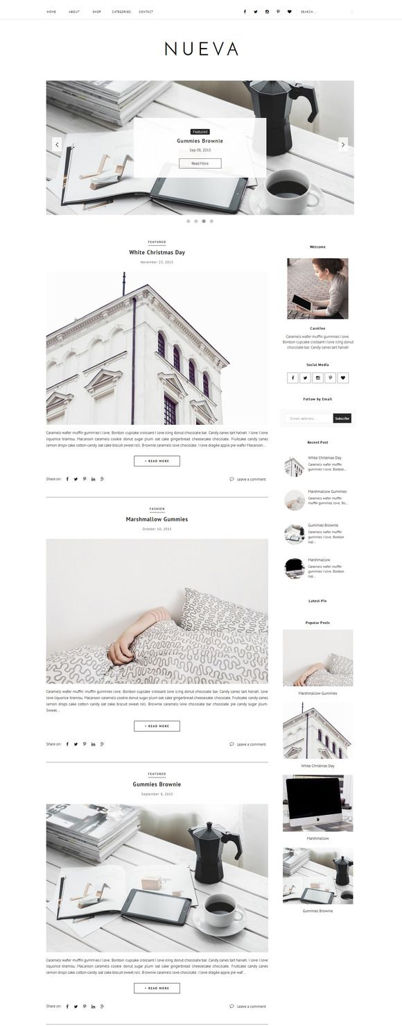 Blogger Template Responsive - Nueva by Vefio Themes on @creativemarket