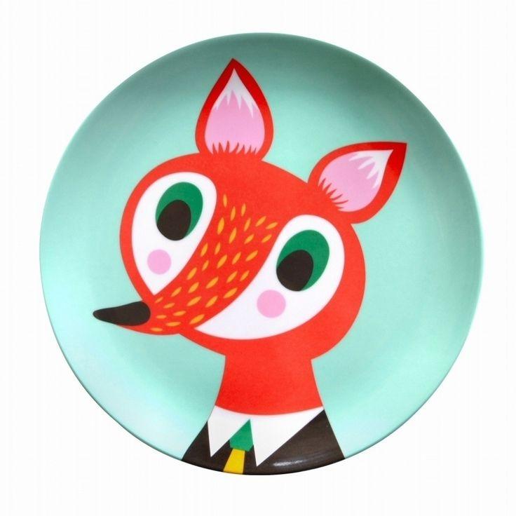 #Fox #Melamine #Plate by Helen #Dardik from http://www.kidsdinge.com https://www.facebook.com/pages/kidsdingecom-Origineel-speelgoed-hebbedingen-voor-hippe-kids/160122710686387?sk=wall http://instagram.com/kidsdinge #Speelgoed #Toys #Kids #Kidsdinge