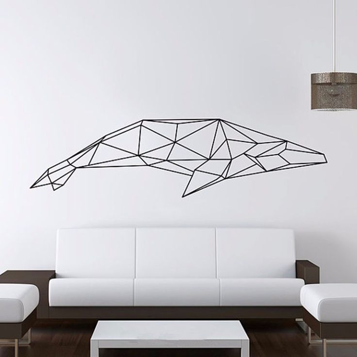 Trasporto libero Del Vinile Geometrica Whale Wall Sticker Geometria Serie Animale 3D Decalcomanie Del Vinile Wall Art decorazione domestica X193(China (Mainland))
