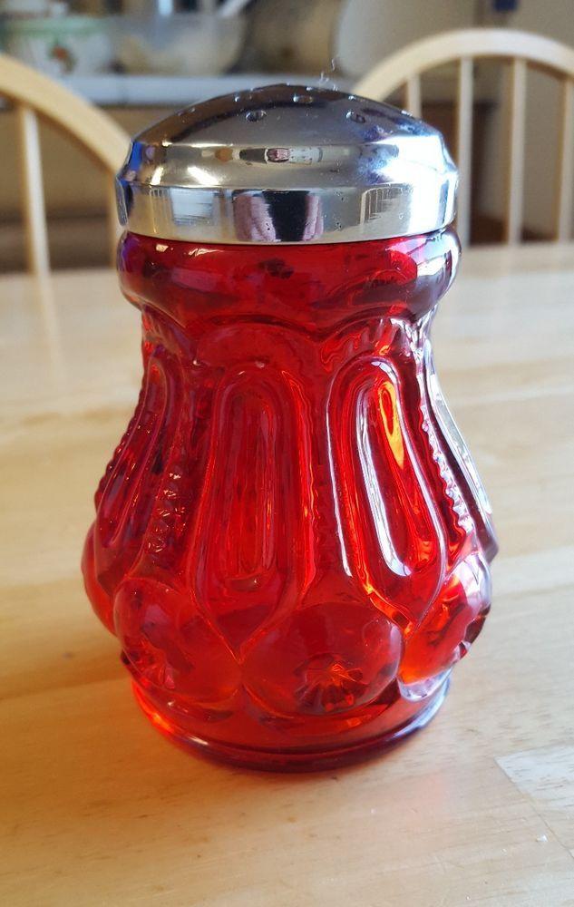 "L E Smith Glass Moon & Stars Ruby Red 4.5"" Tall Sugar Shaker! Rare! L@@K!!   eBay"