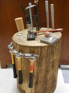 a portable stump..nice tool caddy idea as well