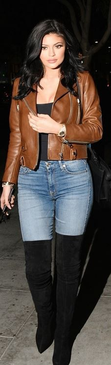 Kendall Jenner: Jacket – Acne Studios Leather  Shirt – American Apparel  Bracelet – Cartier  Jeans – 7 For All Mankind  Shoes – Sergio Rossi