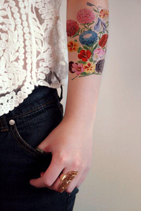 Tatuaggio temporaneo floreale vintage / tatuaggio di Tattoorary