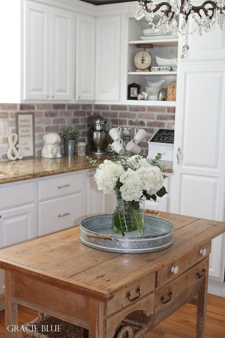 Best 25 brick tile backsplash ideas on pinterest brick tiles gracie blue spring home tour white kitchen reveal dailygadgetfo Images