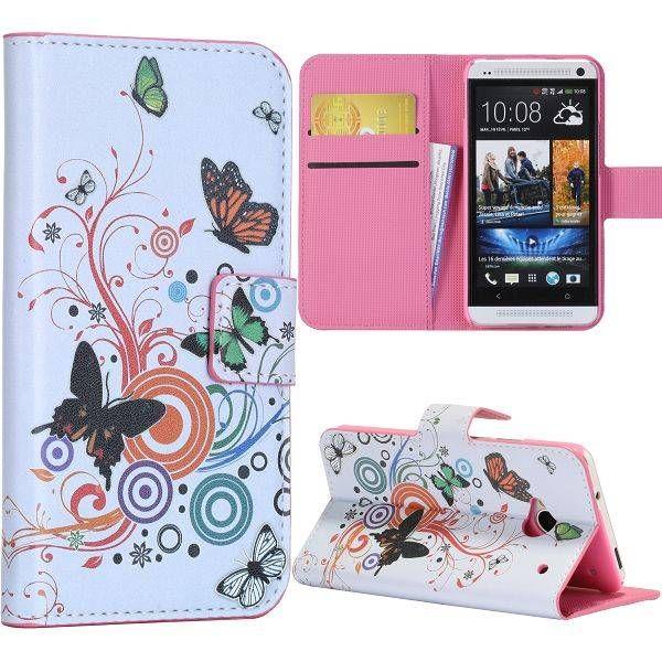 Vlinder bookcase hoesje voor HTC One