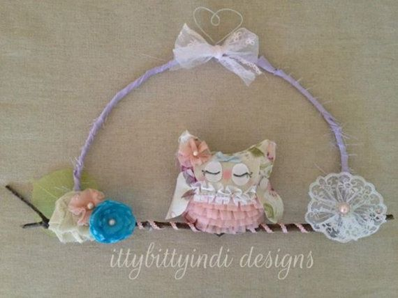 Little Shabby Owl decor branch wall art shabby chic nursery / bedroom decor handmade vintage inspired girls decor