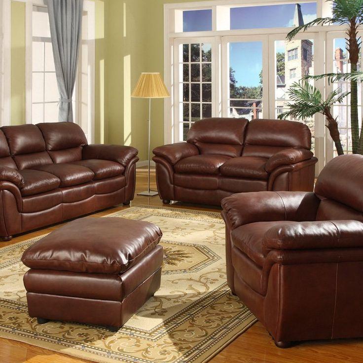 Baxton Studio Redding Cognac Leather Modern Sofa Set - Brown - 9015 2PC SOFA SET