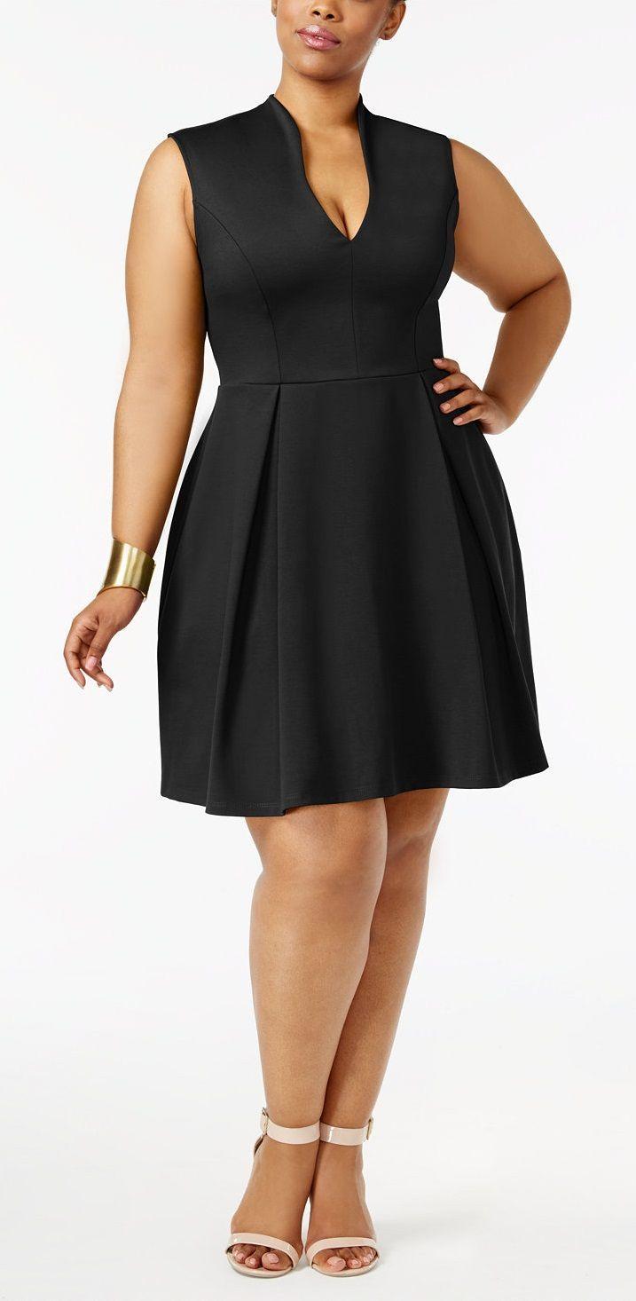 1420625814f57c Plus Size Pleated Fit   Flare Dress Plus size women fasion moda dress  clothe Swimwear Tops Bottoms