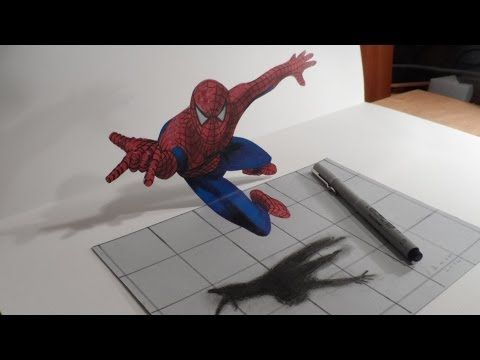 Anamorphic Illusion, Drawing a Spiderman - YouTube