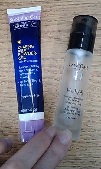 Comparing Monistat Chafing Relief Powder Gel to Lancome La Base Pro. With before and after pictures.