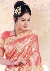Golden Pink Kanchipuram Silk Trendy Saree @ http://www.chennaistore.com