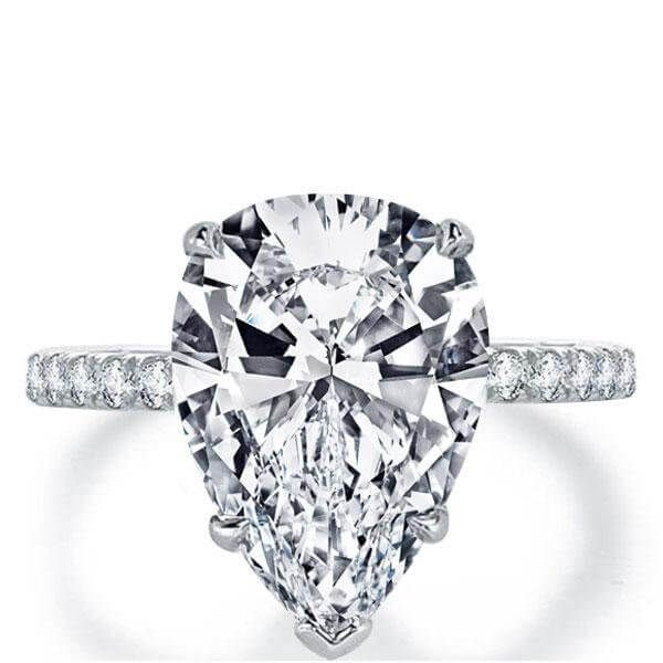 4001b51730097 Italo Classic Pear Created White Sapphire Engagement Ring in 2019 ...