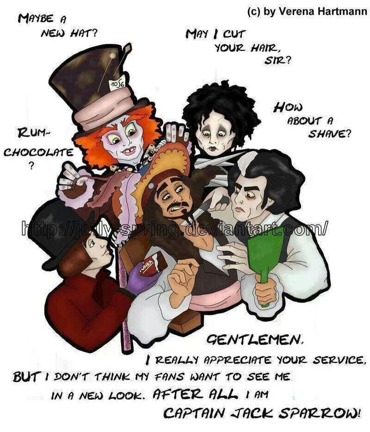 Captain Jack Sparrow, Sweeney Todd, Willy Wonka, Edward Scissor Hands, and The Mad Hatter.