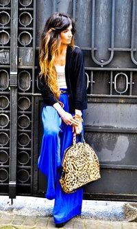 ombre hair, cobalt blue pants + leopard