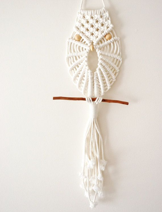 White Modern Macrame Owl Wall Hanging By Thevintageloop On