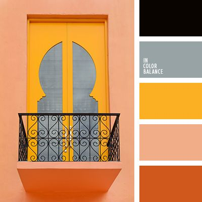 Effective and harmonious palette, which perfectly combines active and neutral shades. Grey and black with sunny yellow, peach with a bright orange. A composition made with an absolute sense of taste and measure. Such paints are suitable for interior furnishing in the African style. Ebony, masks, statues, a lot of yellow and orange.