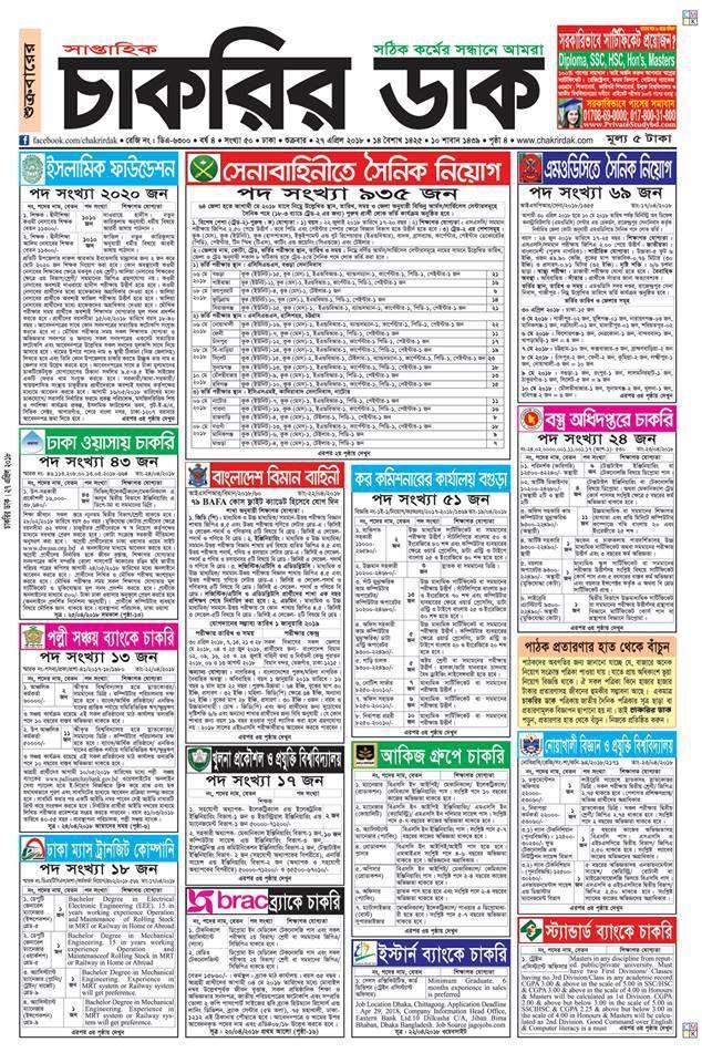 Chakrir Dak Jobs Newspaper in Bangladesh - www chakrirdak com