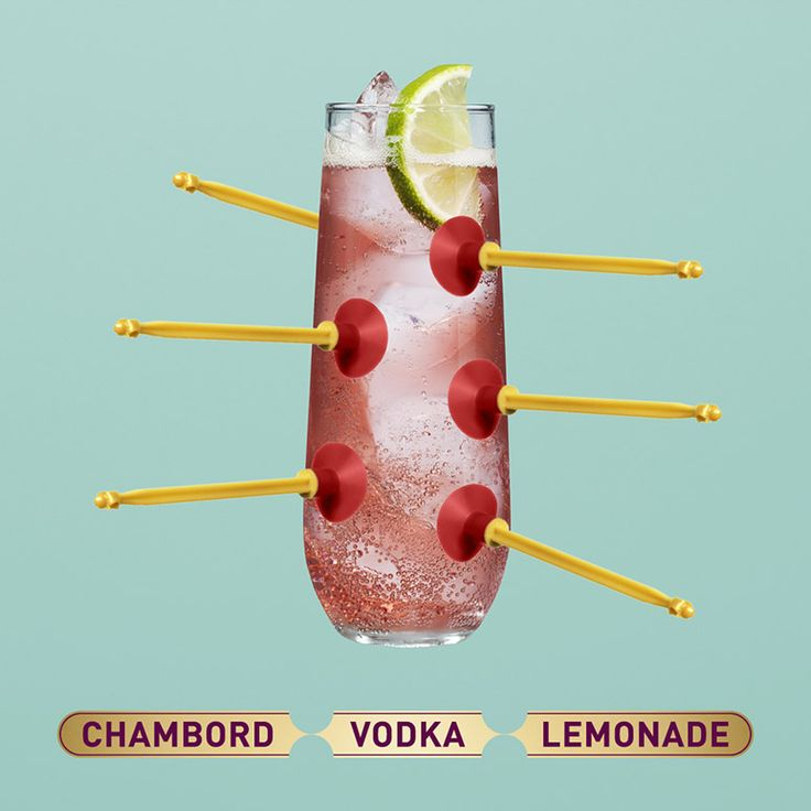 To make a Chambord Vodka Lemonade, pour the Chambord (25ml), vodka (25ml) and lemonade into a long glass filled with ice. Add a lemon wedge and voila, your tongue is happy.