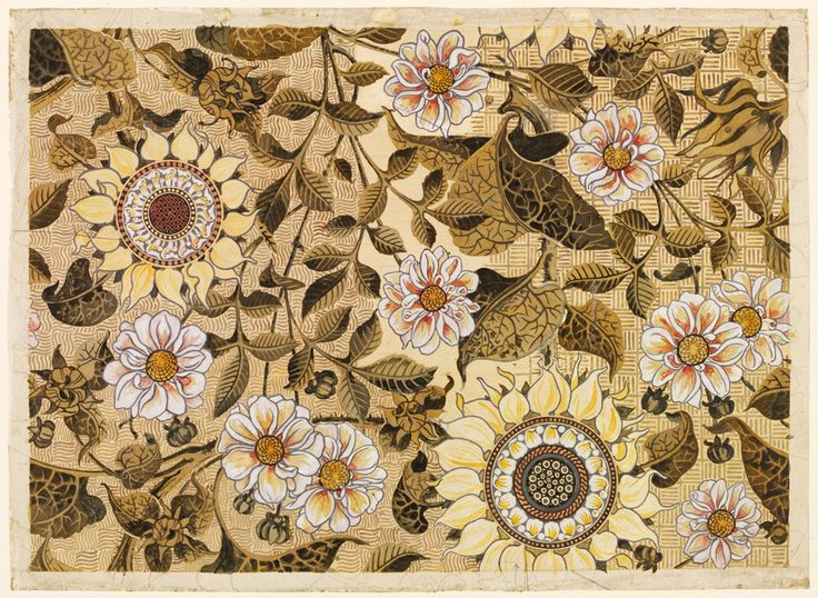 Design for 'The Sunflower' wallpaper Bruce James Talbert Made by Jeffrey & Co. London 1878 Watercolour and body colour Museum no. E.37-1945 Given by Mrs Margaret Warner
