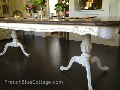 Double Pedestal Table Finished With Milk Paint And Chalk