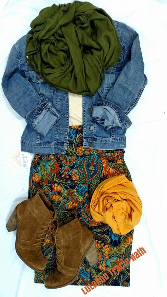 Styled by LuLaRoeTracie Nath  LuLaRoe Cassie - the classic pencil skirt paired with LuLaRoe leggings, a jean jacket, and boots for a great Fall outfit!