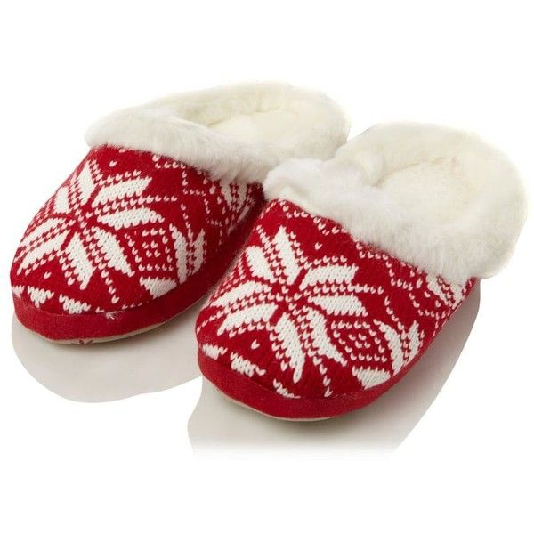 Red Christmas fairisle patterned mules (100 ARS) ❤ liked on Polyvore featuring shoes, slippers, christmas, pajamas, holiday and women's footwear