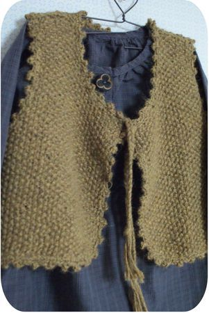 gilet point de riz 2 aig 5 (!! bordure crochet...)