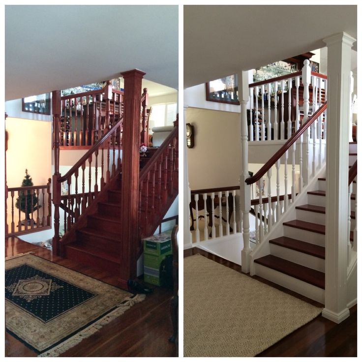 My clients staircase Before & After photo's. We created a bright fresh Hampton's look!
