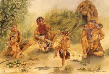 Painting of San Tribe members, with collected food, by Charlotte King