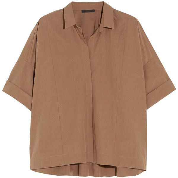 Donna Karan New York Oversized cotton shirt ($750) ❤ liked on Polyvore featuring tops, blouses, shirts, t-shirts, light brown, donna karan blouse, beige top, donna karan shirts, cotton blouses and beige blouse
