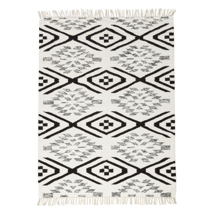 Teppich Lyon - Schwarz / Weiß / Hellbraun - 160 x 230 cm