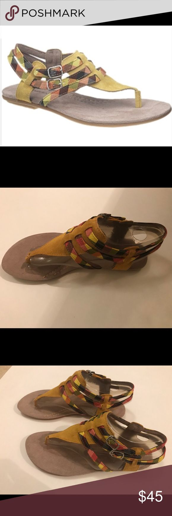 Hush Puppies suede yellow and plaid sandals 8.5 Hush puppies Suede yellow and plaid sandals  Size 8.5 medium Hush Puppies Shoes Sandals