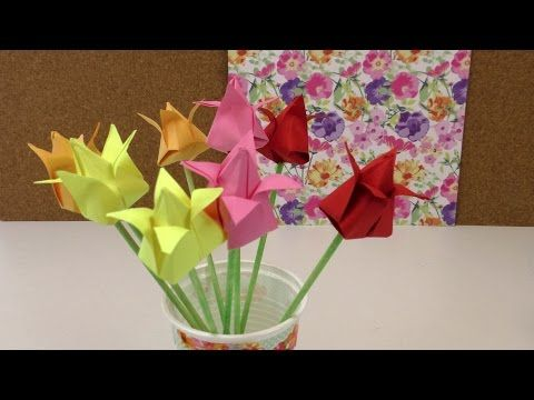 Origami Tulpen DIY. Blumen falten Anleitung. Deko einfach und schnell. Flower Origami deutsch, My