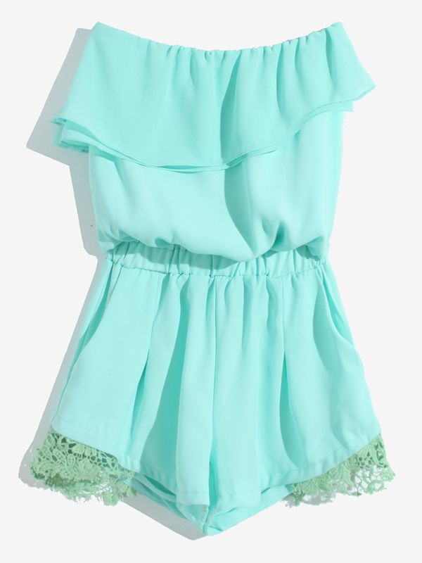Mint Strapless Tube Romper with ruffles.