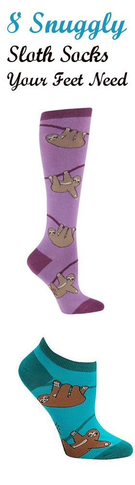 Check out these super cute sloth socks that we've hand picked for you! http://all-things-sloth.com/8-snuggly-sloth-socks-your-feet-need/