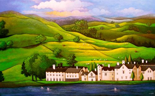 """Lake district 40""""x48"""" Acrylic on Canvas  https://www.facebook.com/SunitaPaintings"""