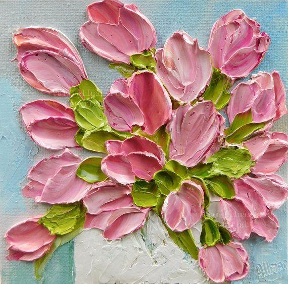 Donkere abrikozen en pinks waarmee een frisheid van de lente tot uw huis! Dit is een olieverfschilderij van de impasto gebeeldhouwd tulpen op een 6 x 6 galerij rand doek. Klaar om te hangen! Net uit mijn ezel en droog genoeg zijn om het schip door wo 6/29 van volgende week zal worden.  Ondertekend door mij en wordt geleverd met mijn kunstenaar toespraak. Direct aan de muur hangt. Klaar om te verzenden! Perfect voor home decor of als een cadeau voor een van uw favoriete vrienden of familie…