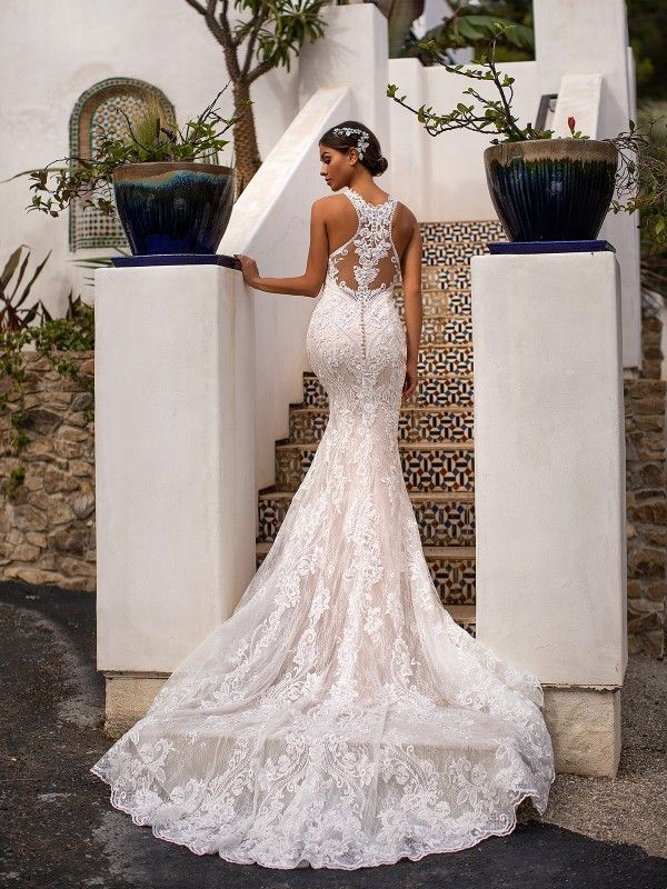 Halter Mermaid Wedding Dress Moonlight Couture H1400 Racerback Wedding Dress Moonlight Wedding Dress Romantic Wedding Dress Lace
