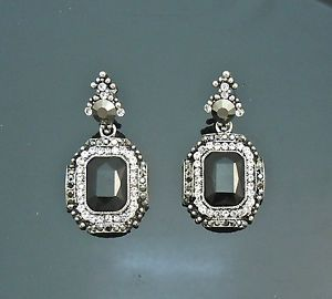 "Vintage Victorian Queen Crystal Earrings Black emerald cut Jewel 1.75""H=4.5cmH"