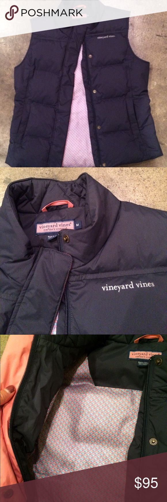 NWOT Vineyard Vines Puffer Vest Brand new, never worn. Only flaw is a tiny mark above inner button (see 4th pictures). Signature Vineyard Vines whale logo located on the inside. Color is in Vineyard navy. Vineyard Vines Jackets & Coats Vests