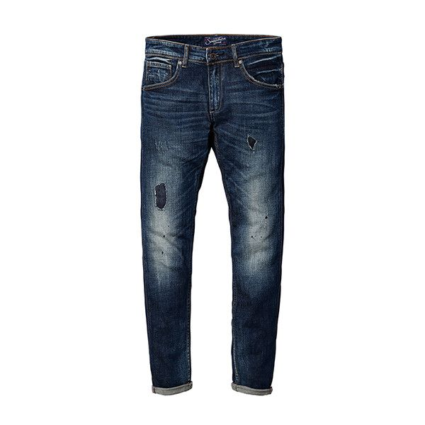 SIMWOOD Brand Clothing New Autumn Winter Jeans Men Fashion Patchwork Denim Trousers Slim Fit