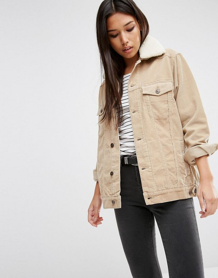 Image 1 of ASOS Cord Denim Girlfriend Jacket in Stone with Borg Collar