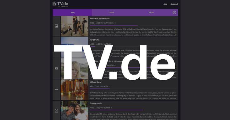 http://TV.de Webseite mit dem aktuellen TV-Programm von heute
