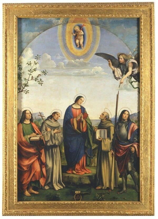 Esempio di classicismo precoci o di classicismo prematuro che accomuna il Francia a Perugino prima dell'affermazione di Raffaello . 1500. Madonna con i santi Giovanni Evangelista Bernardino e Giorgio.