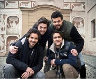 Cast of The Musketeers (I believe this particular picture is from boot camp?) Santiago Cabrera, Tom Burke, Howard Charles, and Luke Pasqualino