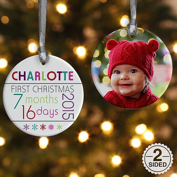 Baby's First Christmas Personalized Ornament - features a photo on one side, and the child's name and the age they'll be on their 1st Christmas!