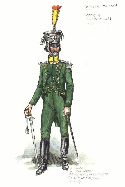 Italian Division in Spain 1808. Officer of Voltigeurs Light Infantry Regiment(unclear if 1st or 2nd Regiment)